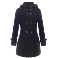 Women Wool Coat Double Breasted Trench Hooded Coat Long Jacket