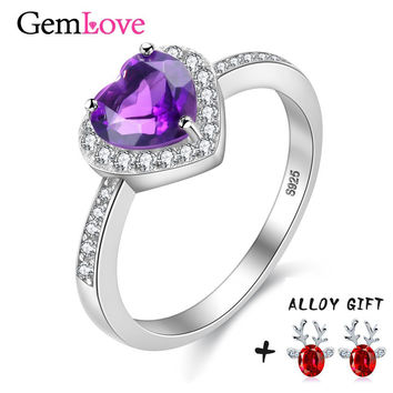 Gemlove Heart 0.8ct Amethyst Ring Women Sterling Silver Jewelry Wedding Womens Rings 925 Silver Natural Stone Ring 10% off CJ006
