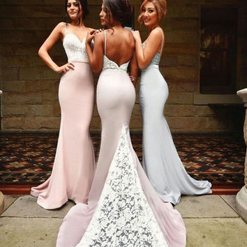 New 2016 Sexy Low Back Mermaid Lace Satin Bridesmaid Dresses Long Spaghetti Straps Maids Honor Dresses Wedding Party Gowns