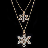 Double Layer Snowflake Necklace