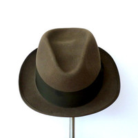 Felted Stetson Fedora Brown Fur Felted Hat Sz 7 1/4 1970s Fedora Royal DeLuxe Stetson Eagle Fedora