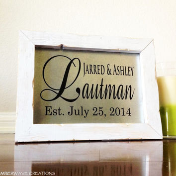 Wedding Name Sign Established Date Bridal Shower Gift Personalized Custom Last Name Sign
