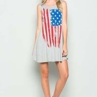 I Love the Flag Tank Dress in Heather Gray