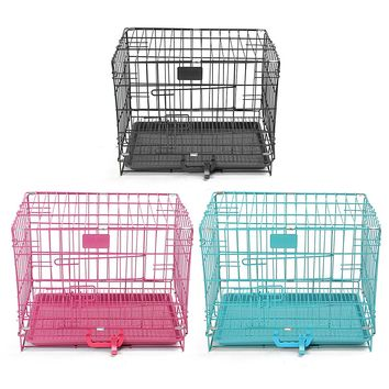 46*30*37cm Dog Cage Pet Puppy Crate Cage Playpen Folding Metal Training Playpen Tray