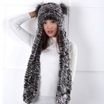 VONESC6 2016 New Fur hat scarf piece women warm winter scarves hats fashion lovely  Fashion personality simple  elegant  Women wool hat