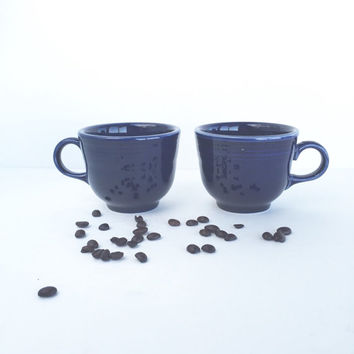 Vintage Fiestaware Cobalt Blue Flat Cups Set of 2