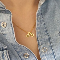 Chic Bicycle Necklace / Choose color 18k Gold Silver Everyday Geometric Jewelry