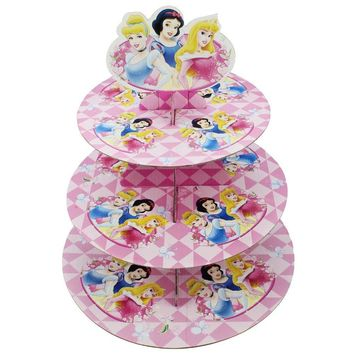 Betop House 3-Tire Princess Snow White Cinderella Aurora Themed Party Cupcake Dessert Stand