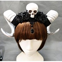 Steampunk Gothic Witch Skull Ram Horned Head-Piece