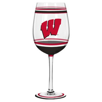 Wisconsin Badgers Wine Glass - 18oz Brush Painted