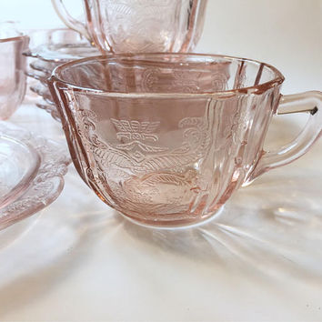 Pink Glass Teacups & Saucers, Set of 6 Madrid Recollection Indiana Glass, Federal Madrid Pink
