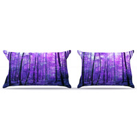 "Iris Lehnhardt ""Magic Woods"" Purple Forest Pillow Case"