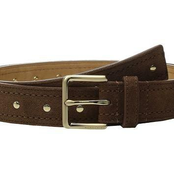 MICHAEL Michael Kors 32mm Suede Belt with Heavy Pick Stitch and Stud Detail
