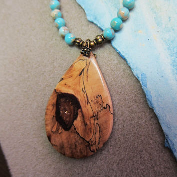 Spalted Tamarind Exotic Wood, Pendant Beaded Necklace Impression Jasper Handmade ExoticwoodButtonsAnd Ecofriendly