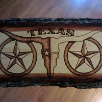 Texas longhorn lone star - Rustic Wood Art