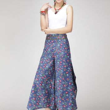 Women Retro Printing pants casual loose long pants dark blue pants