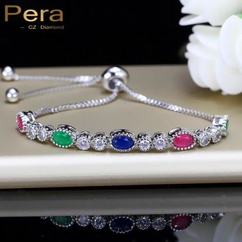 Pera Shining Charm Adjustable Size Tennis Bracelet For Women Big Oval Red Green Blue And White Rhinestones Party Jewelry B113