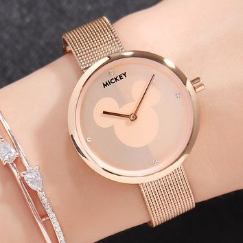 Disney Brand Original Gift Box Mickey Mouse Women's Watches Stainless Steel Leather Ladies Rose Gold Quartz Clocks Waterproof