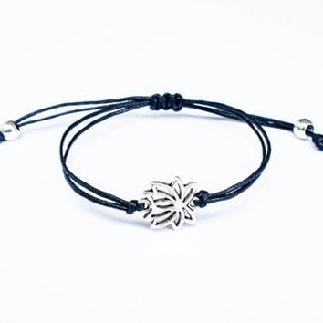Lotus Bracelet made with Cotton Cord, Friendship Bracelet, Dainty Bracelet, Spiritual Zen Enlighten Yoga