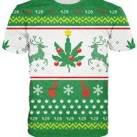 Mary Christmas T-Shirt bongs and weed leaves t shirt Women Men 3d Print tshirt Outfits Sport Tops Plus Size Fashion Clothing