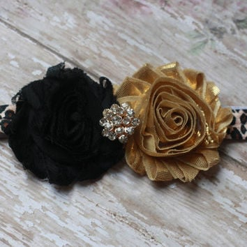 LEOPARD HEADBAND, cheetah print, gold, black, baby girl, toddler, adult, boutique, couture, rhinestone, m2m, animal print, flower, glamour