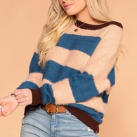 Just For Fun Fuzzy Teal Stripe Knit Colorblock Sweater
