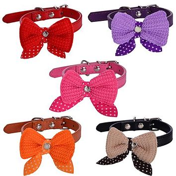 Knitted Bowknot Faux Leather Adjustable Dog Puppy Pet Cat Collar Necklace Neck Lace