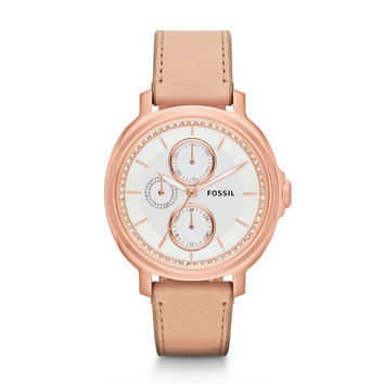 Fossil Women's ES3358 'Chelsey' Beige Leather Watch | Overstock.com Shopping - The Best Deals on Fossil Women's Watches