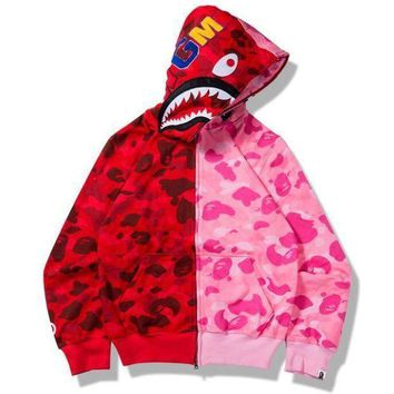 MDIGNO BAPE SHARK camouflage contrast hoodie Sweater