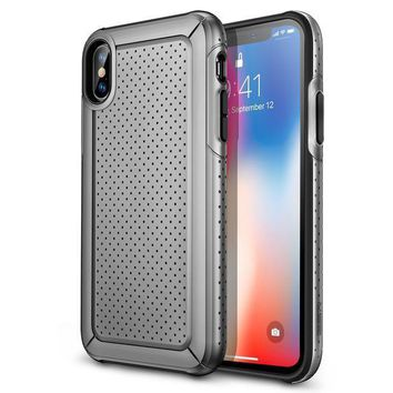 Esr Iphone X Case Rugged Heavy Duty Bumper Armor Case [shock Absorption][high Wireless Charging Efficiency] For Iphone X (grey)