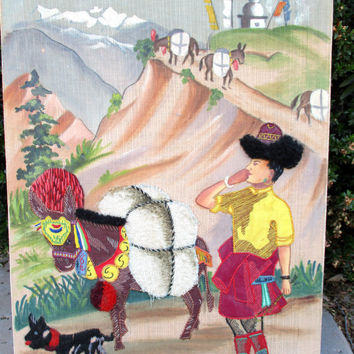 Vintage Embroidery Applique Nepalese Village Life Mules Folk Art Painting Textile Needlework Wall Hanging Made in Tibet