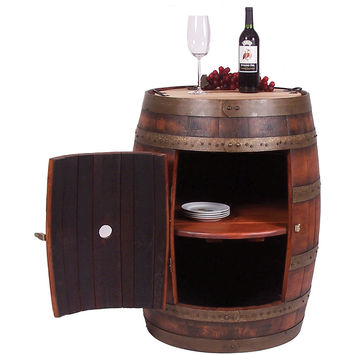 Full Barrel Cabinet on Casters (Made from a Real Wine Barrel)