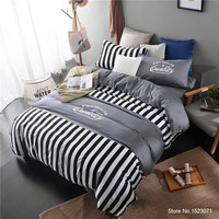 White and black striped and plaid bedding sets simple modern style