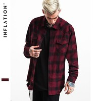 ca kuyou Flannel Ripped Shirts Mens Hip Hop