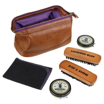 Ted Baker London Brogue Shoe Shine Care Kit Brown