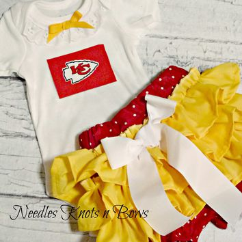 Girls Kansas City Chiefs Football Outfit, Baby Girls Chiefs Coming Home Outfit, Game Day Set