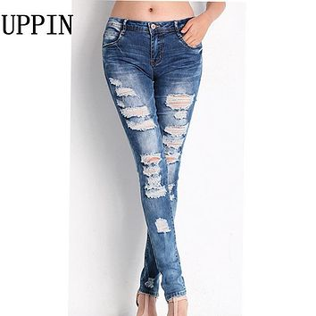 UPPIN 2017 Spring New Fashion Stretch Cotton Hole Pencil Elasticity Slim Thin Jeans Women's Casual Solid Color Jeans Female