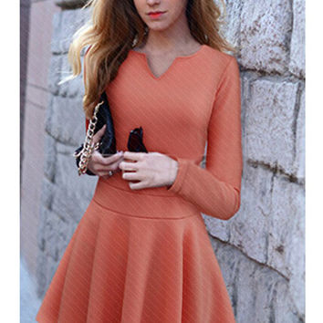 V-Neck Long Sleeve Shirtwaist A-line Mini Skater Dress