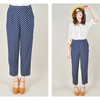 1980s navy POLKA DOT pleated high waist tailored petite pants trousers preppy boho VINTAGE
