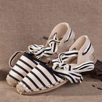 Soludos Women Black and white stripes Hemp sandals Slipper
