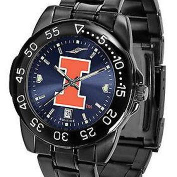 Illinois Illini Watch Mens Fantom Gunmetal Anochrome Blue Dial