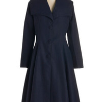 ModCloth Vintage Inspired Long Long Sleeve Intrigue All About It Coat in Navy