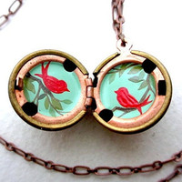 Love Birds Locket, Hand-painted Necklace, Aqua, Olive and Bright Red, Spring Branches, Vintage Pendant
