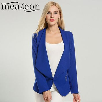 Meaneor Women Cardigan Jacket Office Slim Blazers Lady Elegant Casual Autumn Long Sleeve Padded Shoulder Asymmetrical Hem Coat