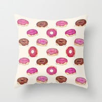 Homemade Doughnuts Throw Pillow by Perrin Le Feuvre | Society6