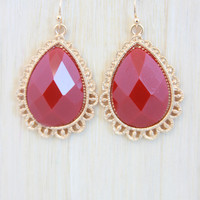 Raindrop Earrings In Ruby Red