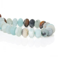 DoreenBeads Created Natural Amazonite Loose Beads Round Mixed Frosted About 8x5mm Hole:Approx 1mm 40cm 1 Strand(Approx 73 PCs)