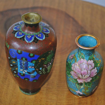2 Antique Cloisonne Cabinet Vases, Antique Small Asian Vases