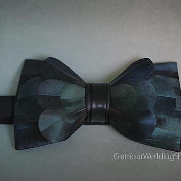 Bow Tie Feather Bow Tie Wedding Bow Tie Dark Green Fathers Bow Tie  Groom Grooms Bow Tie
