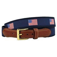USA Loves Freedom, Hates Terror American Flag Leather Tab Belt in Navy by Country Club Prep